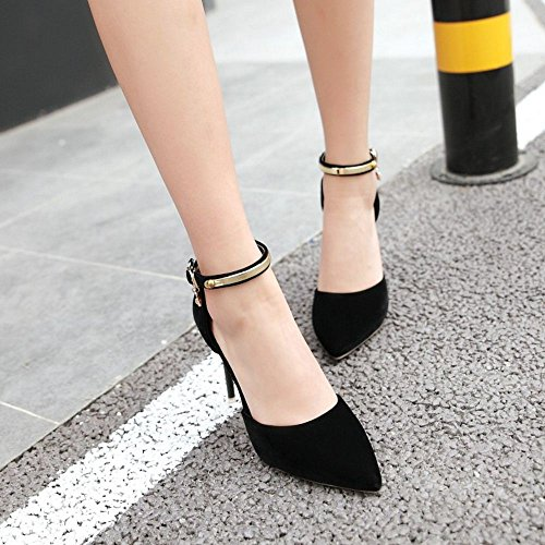 COOLCEPT Femme Mode DOrsay Sandales Chaussures Sangle De Cheville Talon Aiguille Chaussures A Femme 747 noir