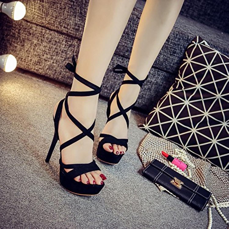 DYY Fina con zapatos de mujer 14cm sandalias de tacón alto club nocturno sexy hat zapatos plataforma de alta resistencia... -