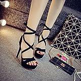 DYY Fine avec des chaussures de femmes 14cm sandales à talons hauts discothèque chapeau sexy haute performance imperméable à l'eau plateforme chaussures,Noir,36