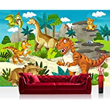 Papel Pintado Fotográfico 200x 140cm Premium Plus–Papel pintado fotográfico pared de pintado de–My First dinosaurios–Papel pintado para habitación infantil Dino dinosaurios prehistóricos Trex–No. 119