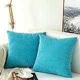 MIULEE Lot de 2 Housse De Coussin Polyester Grains Maïs Carré Taie d'oreiller Moderne Scandinave Décoratif de la Maison Chambre Voiture Lit Canapé 45x45 cm Bleu Turquoise
