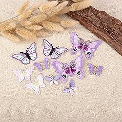 10 Ornamenti Patches Applicazioni, Applique, Toppe termoadesive in tessuto a forma di FARFALLA LILLA, da cucire, stirare, ricamare