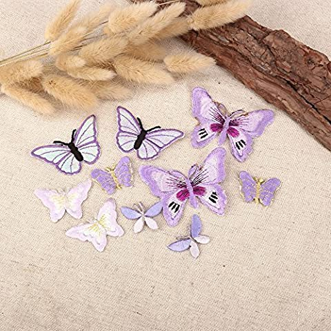 10 x Lilac Assorted Butterfly Fabric Motifs, Iron on Stick on Sew on Embroidery Patch