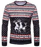 Whatlees Unisex Langarm Druckmuster Weihnachtsshirt - Christmas Geschenk T-Shirt mit 3D Druck Rentieren B666-52-M