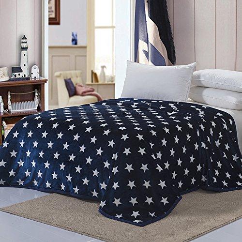 CLG-FLY Coperta doppio spessore per letto singolo, Stars blue, 120X200 edge of about 1.6 kg
