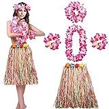 Hawaii Rock Bastrock HULA Damen Frauen Erwachsene Set Bunt Kostüm Halskette Armband Stirnband Blumenkette Grass Tanzen Lang Blumen Deko Stirnband Girlande Luau Farbig Strandurlaub Beach Party LONGBLE