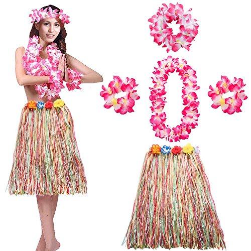 HULA Damen Frauen Erwachsene Set Bunt Kostüm Halskette Armband Stirnband Blumenkette Grass Tanzen Lang Blumen Deko Stirnband Girlande Luau Farbig Strandurlaub Beach Party LONGBLE ()