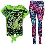 New Girls Tigergesicht Aufdruck Party Fashion Top T Shirt & Leopard Leggings Set 7 8 9 10 Jahre Alt 11 12 13 Jahre - Neon Grün Top & Leggings Set, 146-152