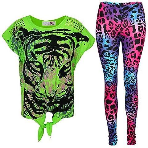 New Girls Tigergesicht Aufdruck Party Fashion Top T Shirt & Leopard Leggings Set 7 8 9 10 Jahre Alt 11 12 13 Jahre - Neon Grün Top & Leggings Set, 158