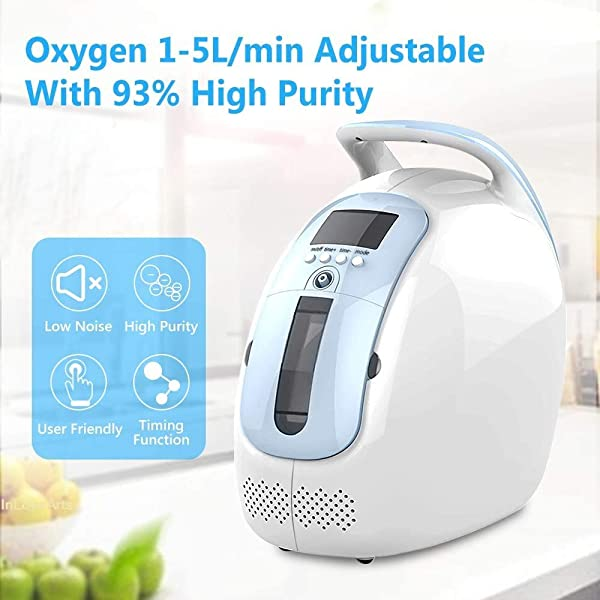 Portable Home Ventilator,oxgen Household Flow Min1-5l Min Purity 90/%,Suitable for Children,Pregnant Women and The Elderly
