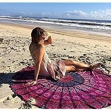 Lila redondo con diseño de pluma de pavo real Mandala Tapiz, hippie de estilo, colcha, manta, estilo de pared imagen, Boho, algodón, mesa, toalla playa, decorativa pared colgantes, redondas de meditación Yoga–Esterilla
