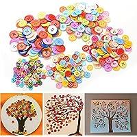 Welecom – Lot de 100 boutons ronds à coudre assortis pour travaux manuels - 5 tailles au choix, 9mm