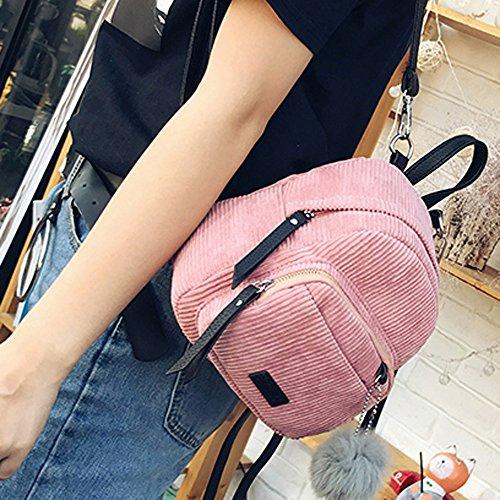 Ularma Damen Cord Mini Täglicher Rucksack Weiche Schultertasche mit Süß Plüsch Schlüsselanhänger Pink