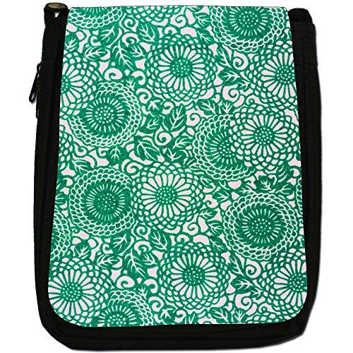 Motivo a fiori in arte giapponese, colore: nero, stile Hippy-Borsa a tracolla in tela da uomo, taglia media Nero (verde)