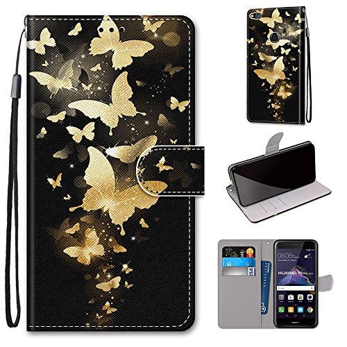 Miagon Flip PU Leder Schutzhülle für Huawei P8 Lite 2017,Bunt Muster Hülle Brieftasche Case Cover Ständer mit Kartenfächer Trageschlaufe,Gold Schmetterling