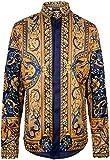 PIZOFF Camicia Stampa Barocco Uomo - Elegante a Maniche Lunghe