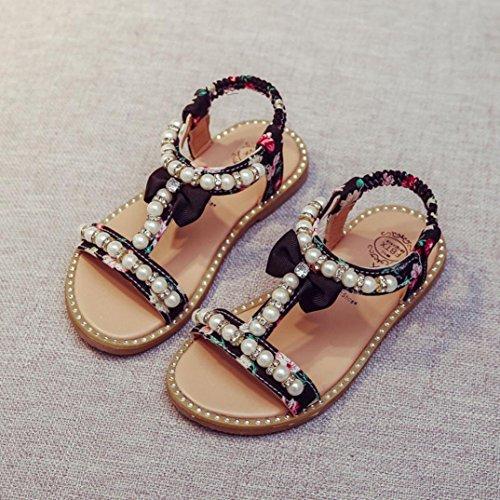 Topgrowth Sandali Bambina Fiocco Perla Cristallo Sandali Romani Scarpe da Principessa Sandali Scarpine Neonato Prima (21, Rosa)