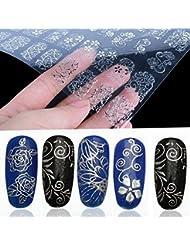 COFCO 3D-Blumen-Aufkleber für Fingernägel (Silver)