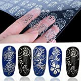 Lsv-8 108pcs 3D Blume Nagelkunst Sticker Nagel Tips Decals (Silber)