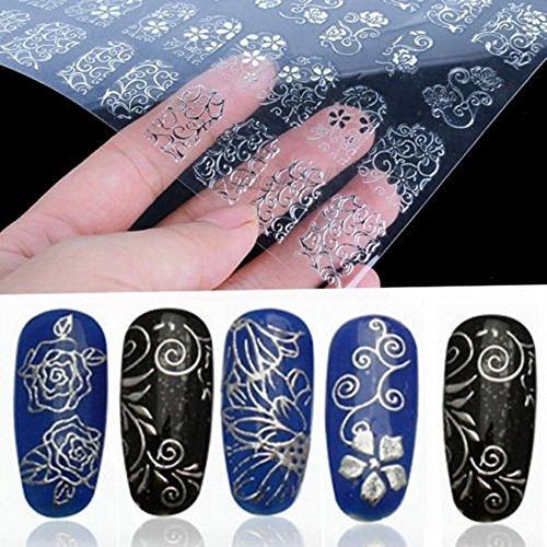 Tia-ve - Adesivi floreali per nail art, decalcomanie (argento) - 108 pezzi (Silver)