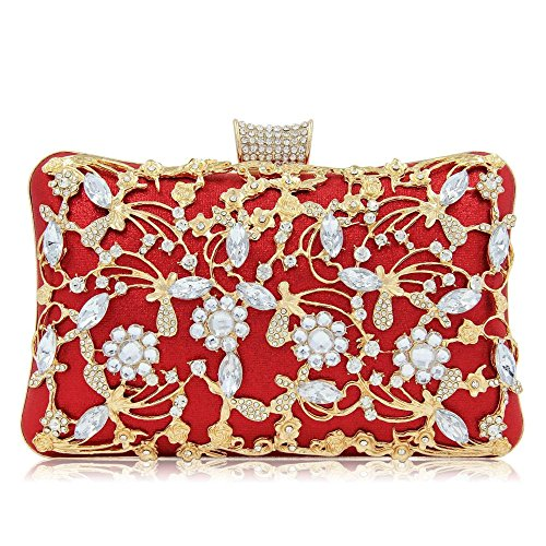 Floral Print Strass (HANHJ Damen Cutout Diamond Dinner Bag Hochwertigem Strass Cheongsam Bag Strass Floral Print Crystal Bag,Red)