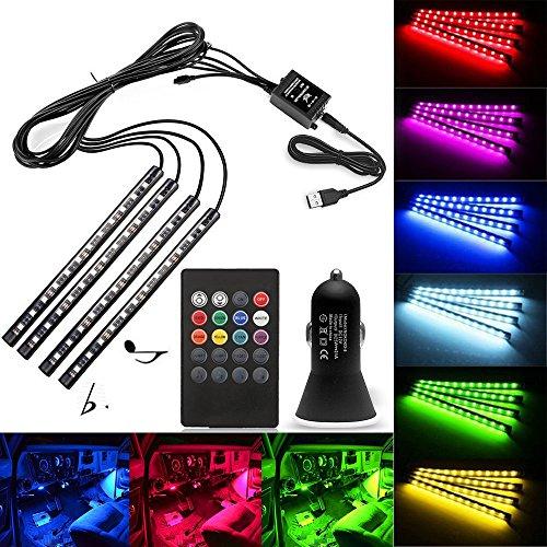 Preisvergleich Produktbild AveyLum USB LED Streifen Auto Innenbeleuchtung Musik Sync Underdash LED Lichtleiste RGB Wasserdicht LED Stripes, 4x22cm