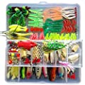 Afishup Fishing Lures Kit Full Tackle Box Mixed Lots Including Hard Lure Minnow Popper Crankbaits VIB Topwater Diving Floating Lures Soft Plastics Worm Spoons Other Saltwater Freshwater Lures from Afishup