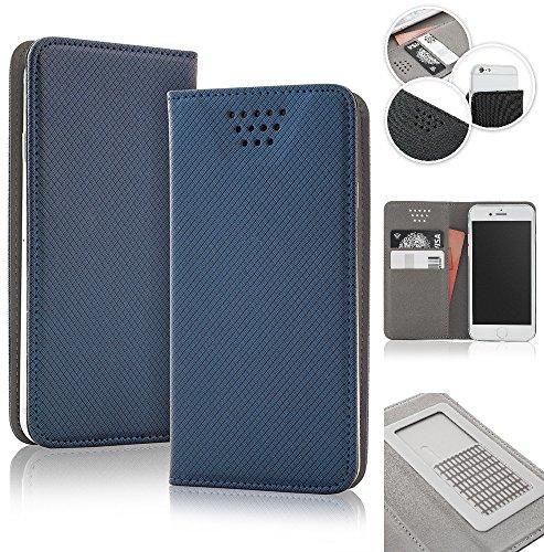 Bralexx universelle Bookstyle-Tasche Hülle Case Cover 2x Kartenfach, 1x Geldfach, praktische Foto-Funktion, verdeckter Magnetverschluss (4,7-5,3 Zoll max. 150 x 75 x 10 mm, Blau)