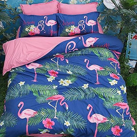 Lovely Pet Hund Bettwäsche Sets–memorecool Haustierhaus 100% Polyester reaktiver Druck Bettlaken und Bettbezug Twin 3Stück pink ab Version, Polyester, Flamingo and Fitted, Queen