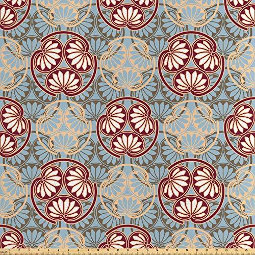 Japanisch Orientalisch Stoff (ABAKUHAUS japanisch Stoff als Meterware, Orientalisches Blumen-Design, Seidiger Satin Stoff Zum benähen von Heimtextilien, 2M (160x200cm), Mehrfarbig)