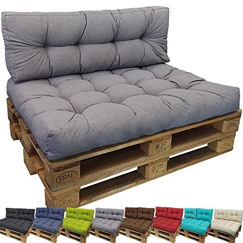 PROHEIM Euro-pallet cushion Tino Lounge for Indoor/Outdoor - Pallet Furniture Cushion in different sizes (NOT A PACK) - Water- and dirt-resistant, Colour:Grey, Variation:Seat