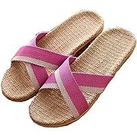 Pantofole da Casa per Donna Uomo Unisex Pantofole di Lino Antiscivolo Scarpe Piatte Sandali Interno Scarpe da Spiaggia…