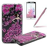 LG L70 Funda,LG L70 Carcasa - Felfy LG L70 Sparkly Fashion Girl Flores Flowers Patrón Transparente...