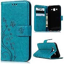"""Funda para Samsung Galaxy J5 2015 5"""" 5 Pulgadas (no para la versión 2016), BADALink funda piel PU para Samsung Galaxy J5 Flip Protective Case Cover (soporte Function, Ranuras para Tarjetas), azul"""