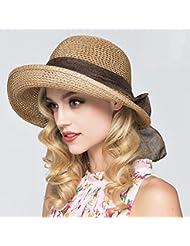 Mujer - Ocio coinciden con la cúpula de la gran volumen de soulful hem plegable Butterfly Beach sunscreen formal de los sombreros de paja y marrón claro