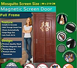 Mosquito Door Net/mosquito door net with magnet / Curtain/ Door Curtain-mosquito door net with frame/Magnetic Screen Door Full Frame Mesh Curtain With Hook and Loop Fastener Tape With Highest Weight In Quality On Amazon By Shuban (90 Cm W X 210 Cm H) (Package Weight - 635 Grams) - Coffee Color