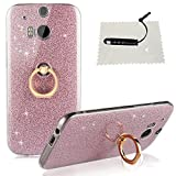 TOACSO HTC One M8 Hülle Silikon Transparent, HTC One M8 Hülle Glitzer Ultra Slim [Weiche TPU Abdeckung + Glitzer Papier] 3 in 1 Hybrid Hülle Kickstand Halter Hülle HTC One M8 - Crystal Rosa