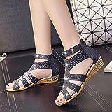WHLShoes Damen-Sandalen Goldenen Fisch Mund Sandalen Mode Reißverschluss mit Sommer Flachboden mit Casual Wild Schwarz 37