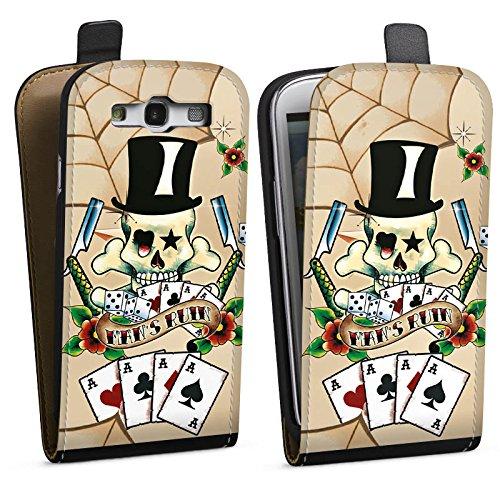 DeinDesign Tasche kompatibel mit Samsung Galaxy S3 Flip Case Hülle Totenkopf Skull Karten -