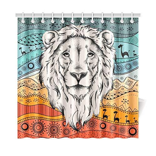 JOCHUAN Home Decor Bad Vorhang Ethnische Handzeichnung Kopf Lion Auf Polyester Stoff Wasserdicht Duschvorhang Für Badezimmer, 72 X 72 Zoll Duschvorhänge Haken Enthalten