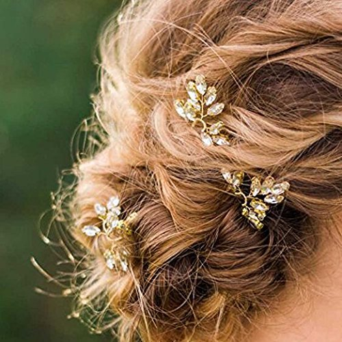 Aukmla Hochzeit Brautschmuck Haarnadeln–Kristallperle Haar-Accessoires für Damen und Mädchen, goldfarben (3-er Pack)