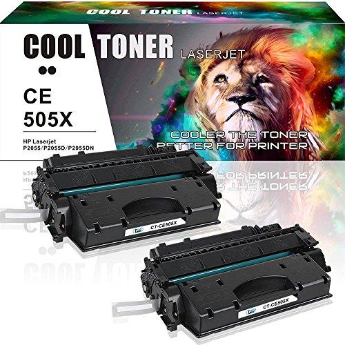 Cool Toner 6500 Pages compatible para CE505X 05X cartucho de Toner Compatible para HP LaserJet P2055 P2055D P2055DN P2055X,Negro, 2-Pack