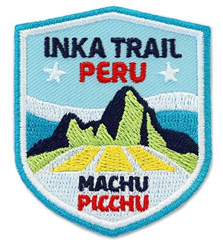 Club-of-Heroes 2er-Pack, Stick Abzeichen 51 x 60 mm/Peru, Inka-Trail Machu Picchu/Applikation Aufnäher Aufbügler Bügelbild Patch/für Kleidung Rucksack/Reise Travel Wandern Touren Karte Kompass