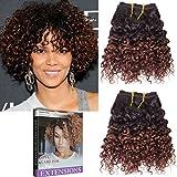 Emmet Kurze lockige Haarverlängerung 8Inch Einfache Installation u. Nähen Ombre Farben Brasilianisches Menschenhaar kann gefärbt werden und befreit Afro Kinky Weave 2Bundles / Los 50g / Bundle(1B#/33#)