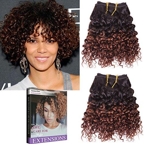 Emmet 8pollice extension capelli veri ricci corto umani brasiliani naturali ondulato remy kinky curly donna afro 50g/pezzo 2pezzo(i)/pacco(1b#/33#)
