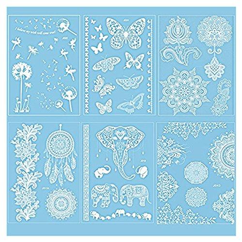 Pinkiou Tattoo-Sticker weiß Lace Mehndi Transfer Aufkleber für temporäre Tätowierung für Körperkunst (6 Stück)