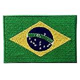 La Bandera Nacional De Brasil Bordó El Imán Brasileño Del Emblema Del Estado De Brasil En Cosió En Remiendo
