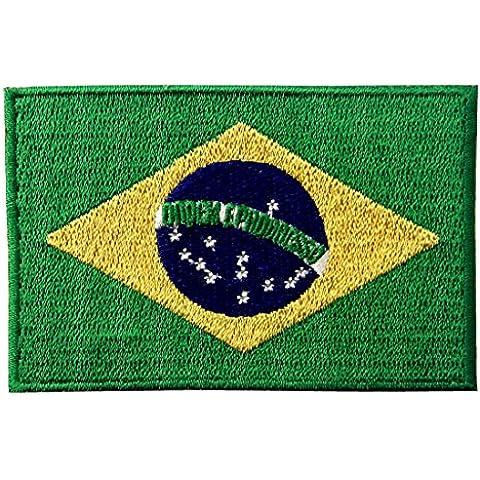 La Bandera Nacional De Brasil Bord¨® El Im¨¢n Brasile?o Del Emblema Del Estado De Brasil En Cosi¨® En Remiendo