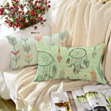BRICK HOME Floral Printed Canvas Cotton Cushion Cover, 12x18 Inches, Set of 2