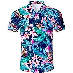 TUONROAD Camisa Hawaiana para Hombre 3D Estampada Funny Flores Tropicales Camisas de Playa Modelo Casual Manga Corta Camisas Verano Camisa del Tema en la Fiesta de Bodas Cumpleaños - M